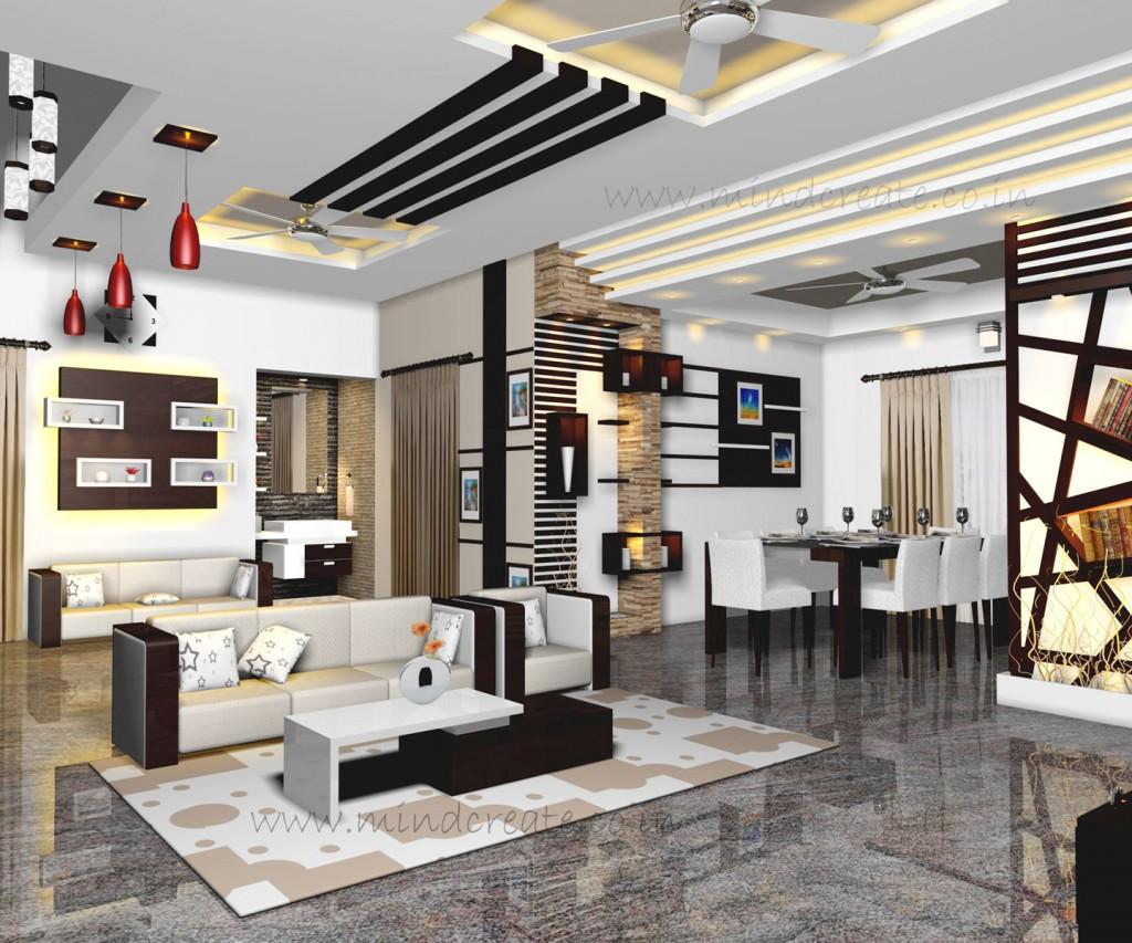 Interior model living & dining - Kerala Model Home Plans