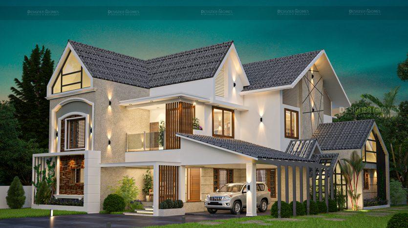 Modern architecture european style kerala mix English ...